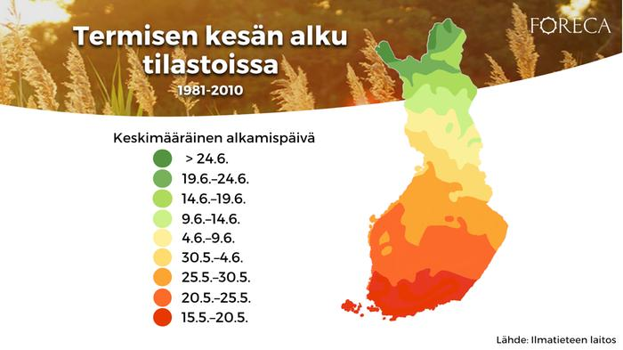 Termisen kesän alku tilastoissa 1981–2010.