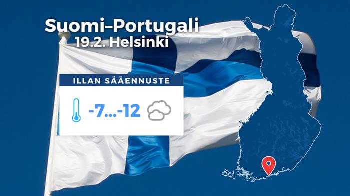 Helmareiden Portugali-ottelu pelataan pakkassäässä, jota tuuli vielä purevoittaa.