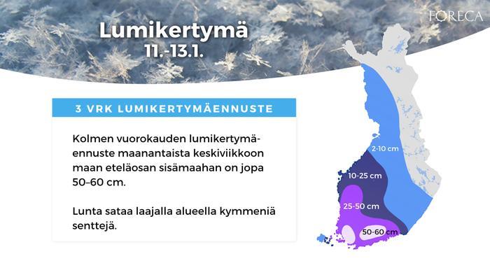 Lumikertymäennuste 11.-13.1.