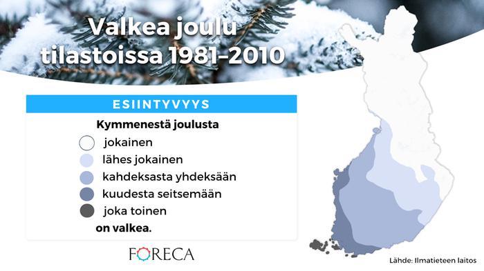 Valkea joulu tilastoissa 1981–2010. Lähde: Ilmatieteen laitos