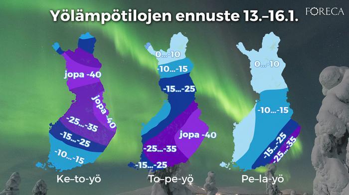 Yölämpötilat 13.-16.1.2021