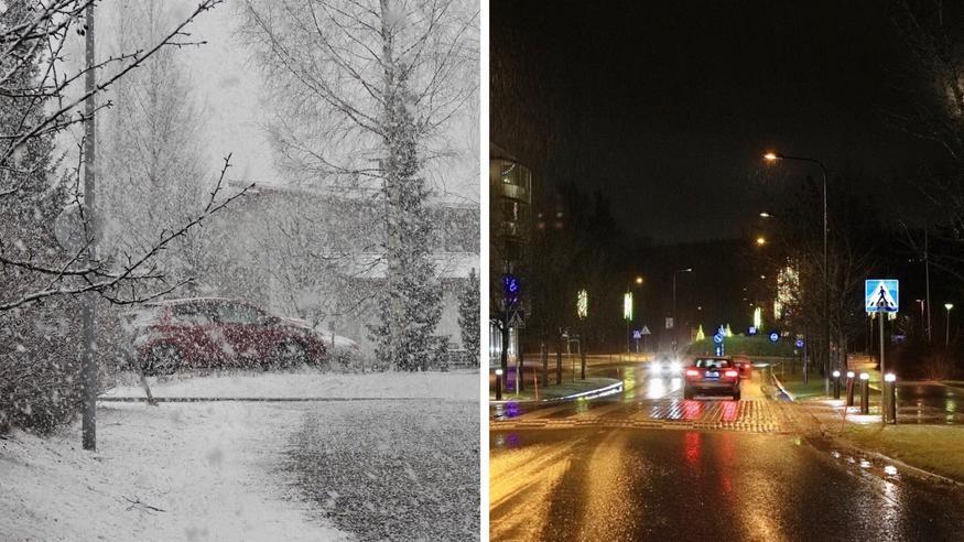 Näin lumipyry etenee – yöllä lämpöpiikki ja jopa +10 astetta! Loppuviikolla lämpötilat romahtavat