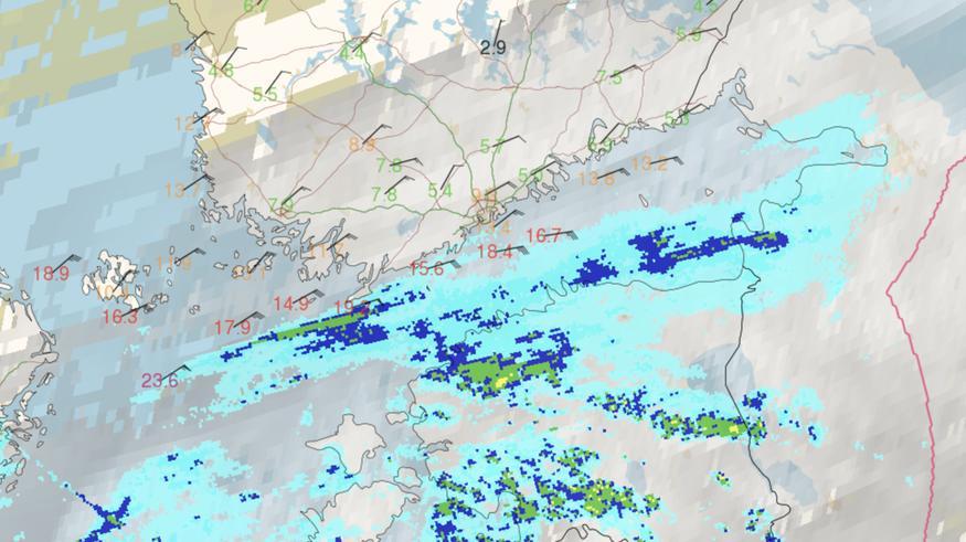 Lumisade kärkkyy Suomenlahdella