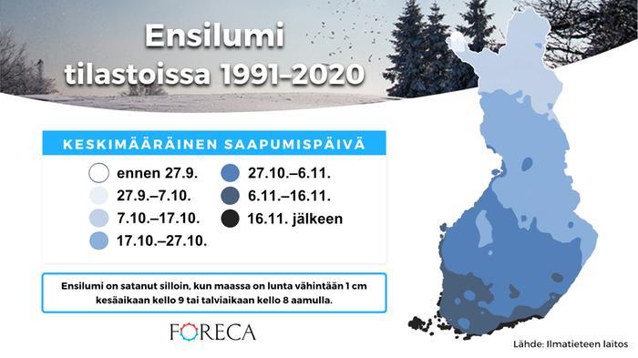 Ensilumi vertailukaudella 1991-2020