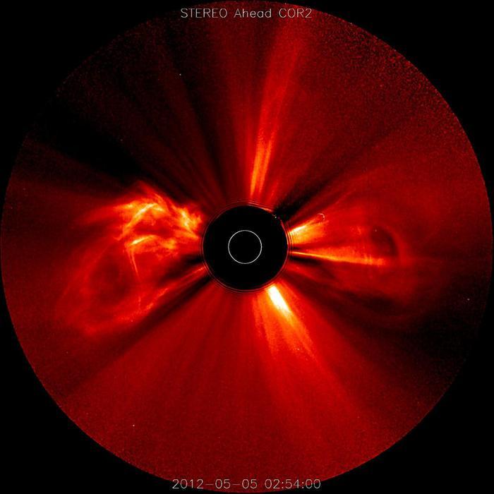 Auringossa voi olla purkauksia yhtä aikaa eri puolilla tähteä. Kuvassa aurinko on peitetty mustalla levyllä, mutta valkoinen rengas kuvaa sen sijaintia ja kokoa.