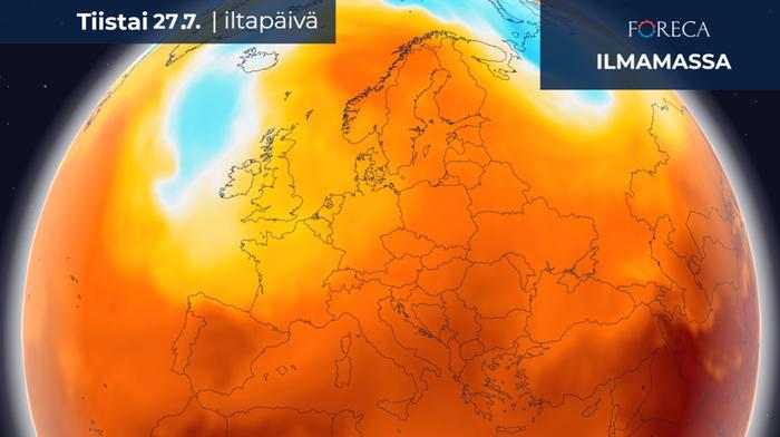 Ensi viikon alussa Euroopan itäpuoliskolla lämpö yltää pohjoiseen asti, kun taas lännessä on koleampaa ja sateisempaa.