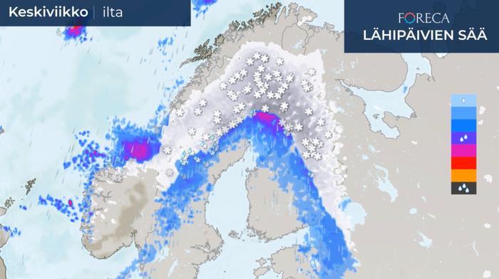 Keskiviikkona ja torstaina lumipyry ylittää Suomen