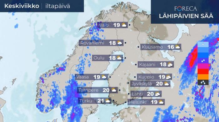 Keskiviikkona sää on jo poutaisempi.