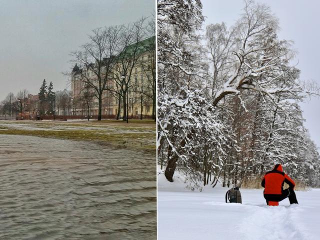 Talvet 2020 ja 2021 ovat kuin yö ja päivä. Ilmastonmuutoksen myötä vuoden 2020 kaltaiset lauhat ja vetiset talvet yleistyvät erityisesti maan eteläosassa, mutta myös kuluneen vuoden kaltaisia lumisia pakkastalvia mahtuu joukkoon. Sään ääripäät ovat ilmastonmuutoksen myötä lisääntymässä, mikä voi näyttäytyä välillä ennätyslauhana säänä, välillä puolestaan kireinä pakkasina. Kuvat: Markus Mäntykannas (vasemmalla), Ari Branthin (oikealla)