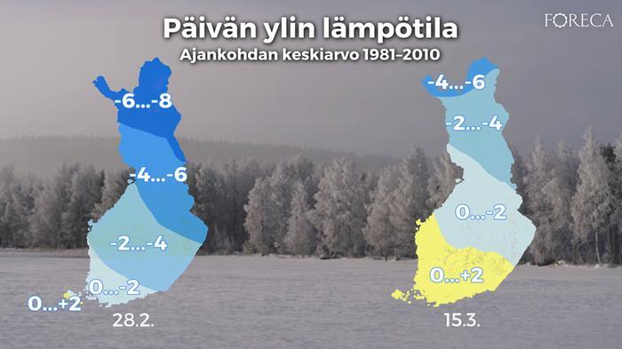 Keskimääräinen päivän ylin lämpötila 28.2. ja 15.3. vuosien 1981–2010 keskiarvon mukaan.