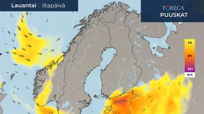 Voimakkaimmat tuulet jäävän lauantaina merelle sekä Suomenlahden etelä- ja itäpuolelle.