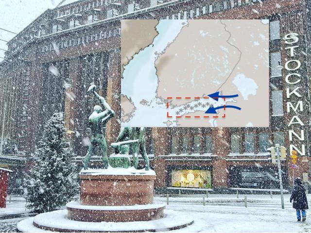 Viikonloppuna Suomenlahdella voi kehittyä käärmettä muistuttava pitkulainen lumikuuronauha.