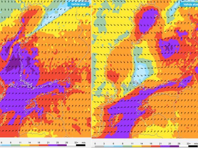 Vasemmassa kuvassa ennustetut tuulenpuuskat klo 11 ja oikeassa klo 17. Aamupäivällä myrskypuuskia tavataan yleisesti maan länsiosassa sisämaassa ja etelärannikolla, myöhemmin voimakkaimpien tuulten painopiste siirtyy kohti maan keskiosaa.