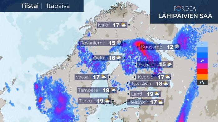 Tiistaina matalapaineen keskus on Kainuun ja Pohjois-Pohjanmaan seudulla.