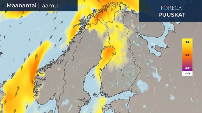Maanantaiaamuna 26. lokakuuta puuskainen tuuli leviää Pohjois-Suomeen.