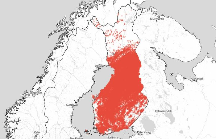 Kesäkuussa 2021 havaitut salamaniskut ajanjaksolla 1.-23.6.2021 (klo 7.30 aamuun mennessä). Runsaiten on salamoinut Pohjois-Pohjanmaalla, Pirkanmaalla ja Kainuussa. Läntisellä Uudellamaalla ja monin paikoin Lapissa salamointi on jäänyt toistaiseksi vähiin.