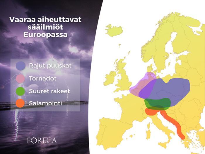 Vaaraa aiheuttavien sääilmiöiden todennäköisyys on suurin Keski-Euroopassa.